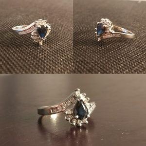 Jewelry - Gorgeous,Unique Blue Sapphire & White Diamond Ring